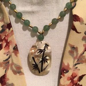 Hand Painted Mother of Pearl Necklace